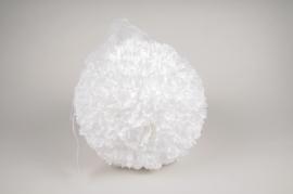 x037fz Boule de pétales de fleurs artificielles blanches D27cm