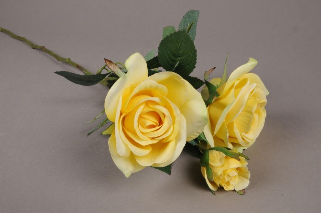 x038am Tige 3 roses artificielles jaune claire H60cm