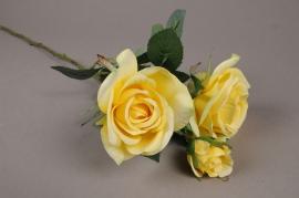 x038am Yellow artificial stem rose H60cm