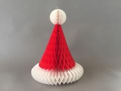 X039RE Bonnet de père Noël en papier blanc rouge H29cm