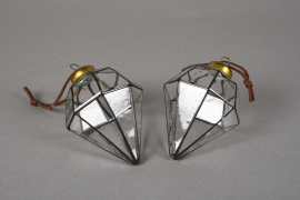 X040KI Boîte de 2 diamants en verre H9.5cm