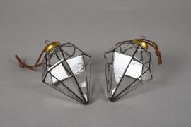 X040KI Box of 2 glass diamond H9.5cm