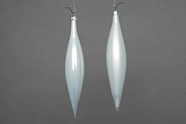 X040T1 Box of 6 white glass cones H15cm