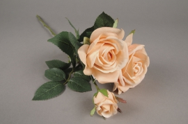 x041am Peach artificial stem rose H60cm