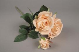 x041am Tige 3 roses artificielles pêche H60cm