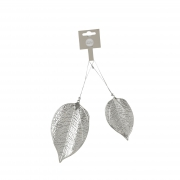 X041DQ Pack of 2 silver metal leaves