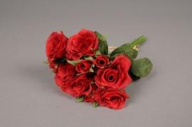 x044fd Bouquet de 12 roses artificielles rouge