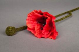 x046nn Artificial red poppy H60cm