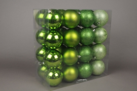 X050ZY Boîte de 32 boules en plastique vert anis D8cm