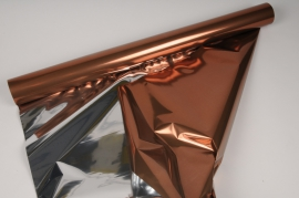 X052QX Chocolate and silver metallic paper roll 70cm x 50m