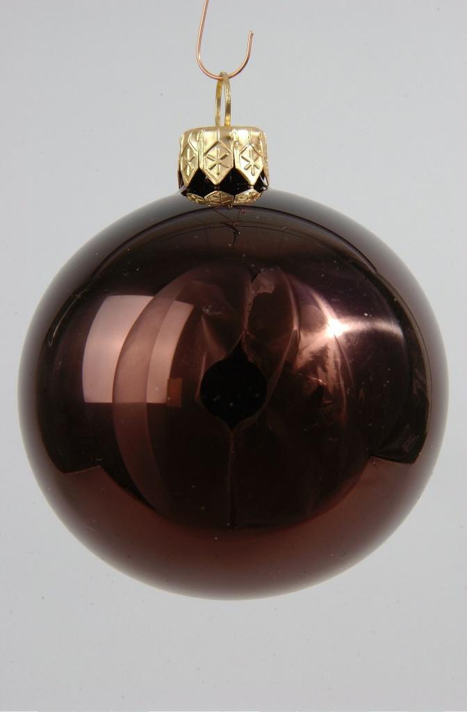 X052T1 Boîte de 6 boules en verre brillant chocolat D8cm