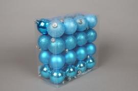 X054ZY Boîte de 32 boules en plastique bleu D5cm