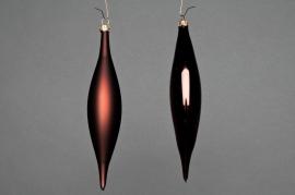 X055T1 Boîte de 6 cônes en verre brillant et mat chocolat H15cm