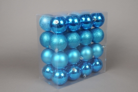 X055ZY Boîte de 32 boules en plastique turquoise D8cm