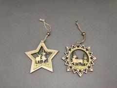 X056DQ Set 2 étoiles en bois à suspendre D10cm