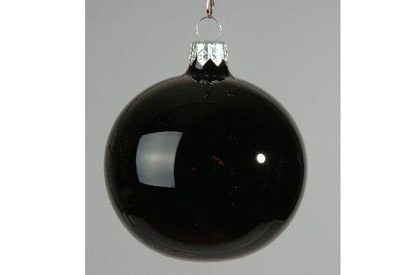 X056T1 Boîte de 12 boules en verre noir brillant D6cm