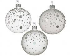 X057KI Boîte de 6 boules en verre transparent assorties D8cm