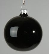 X057T1 Boîte de 6 boules en verre noir brillant diamètre 8cm
