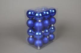 X057ZY Boîte de 24 boules en plastique bleu D6cm