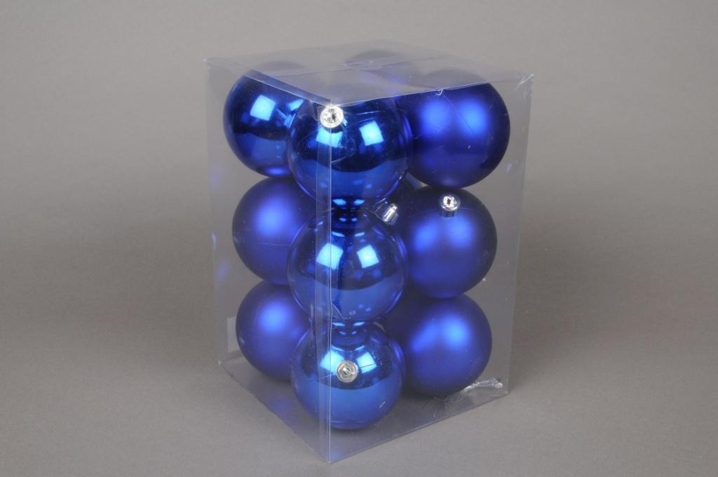X058ZY Boîte de 12 boules plastique bleu D8cm