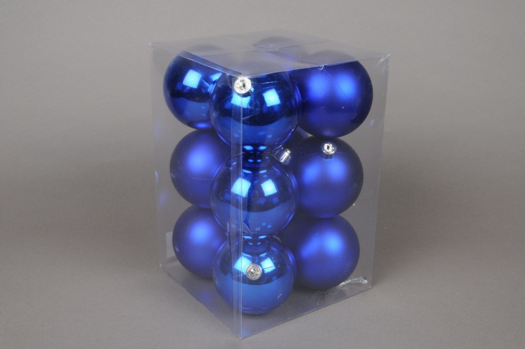 X058ZY Box of 12 shinny / mat plastic balls blue D8cm