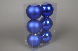 X059ZY Box of 6 plastic balls blue D10cm