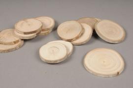 x063wg Sachet de 25 tranches de bois D5cm