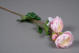 x067am Renoncule artificielle rose et jaune H65cm