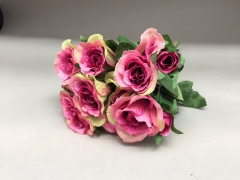 x068jp Bouquet de roses artificielles rose H26cm