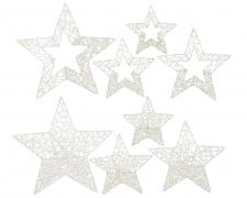 X068KI Set de 4 étoiles pailleté blanc D40cm