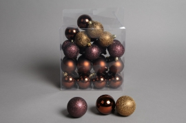 X069ZY Box of 32 plastic balls brown D5cm