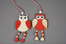 X070X4 Set of 2 wooden owl H13cm