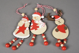 X071X4 Set of 3 wooden christmas character H13cm