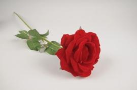 x074am Rose artificielle velours rouge H70cm