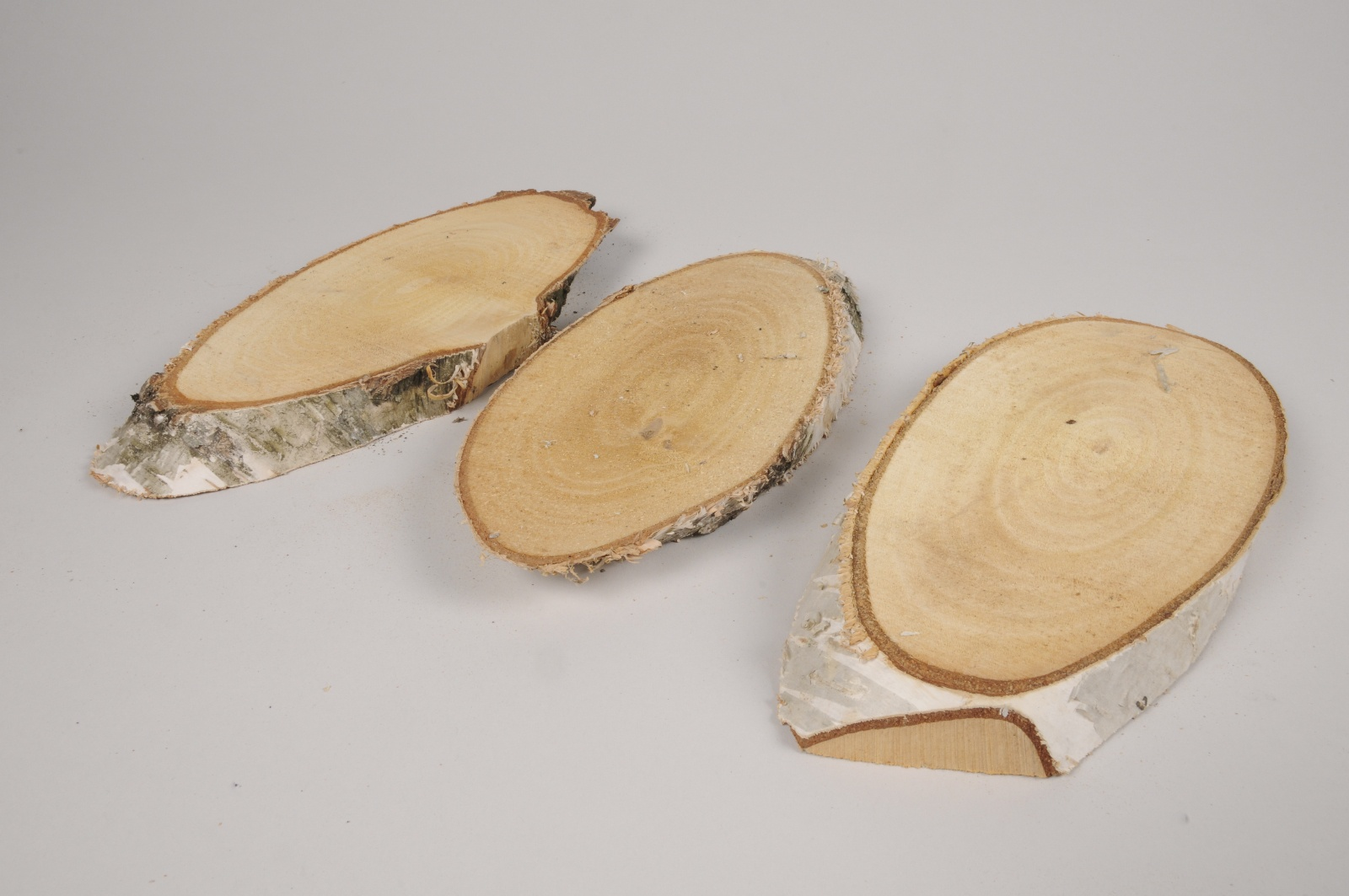 x075hm Sachet de 3 tranches de bois naturel 24x11cm
