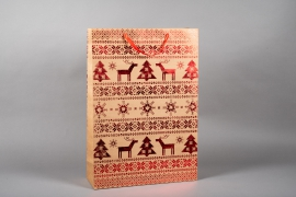 X075KI Kraft bag with red Christmas design H72cm