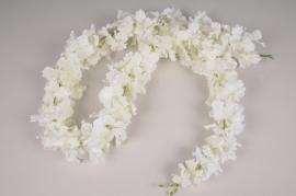 x077dh Guirlande d'hortensia artificiel blanc L160cm