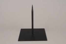 x078ec Socle métal noir 18x18cm H20cm