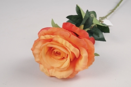 x089am Roses artificielles orange H76cm