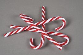 X089KI Set de 4 sucres d'orge rouge et blanc H15cm