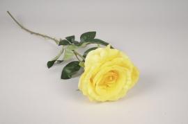 x090am Rose artificielle jaune H77cm