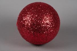 X090KI Boule sequins rouge pail D30cm