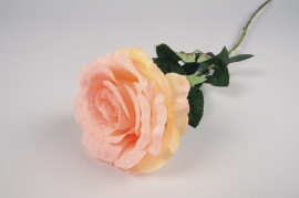 x091am Peach artificial rose H75cm