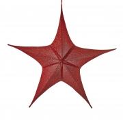 X093DQ Etoile en tissu rouge pailleté D110cm