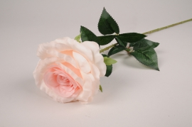 x094am Rose artificielle blanche rose H77cm