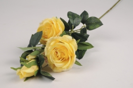 x096am Branche de roses spray artificielle jaune H67cm