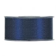 X096UN Blue satin ribbon with gold glitters 40mm x 25m