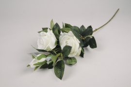 x097am Branche de roses spray artificielle blanc H70cm
