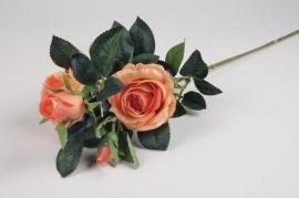 x098am Artificial orange branch rose H70cm
