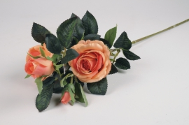 x098am Branche de roses spray artificielle orange H70cm